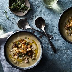 Luxurious Cream of Mushroom Soup with Garlic-Herb Croutons