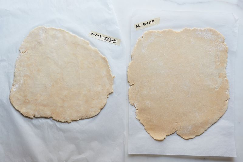 Look closely and you'll spot butter streaks in the dough on the left—but it's hard to see any in the dough on the right.