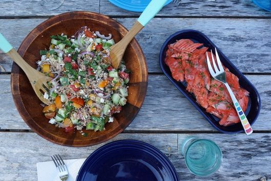 Slow Roasted Sockeye Salmon with Summer Farro Salad