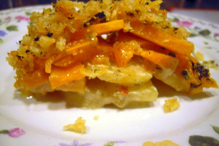 Savory Butternut and Yukon Gold Gratin