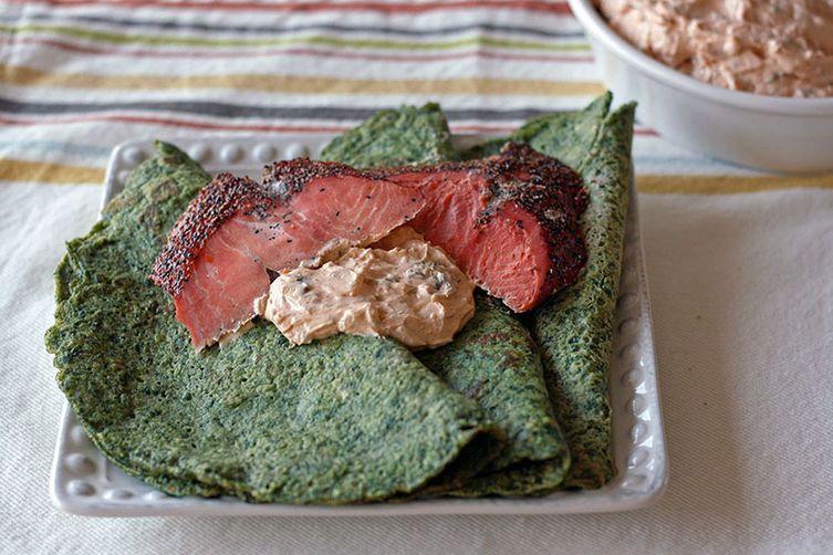 Spinach Crepes With Smoked Salmon And Lemony Greek Yogurt Sauce