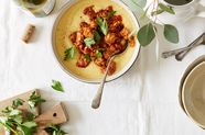 Creamy Polenta with Tempeh Sausage and Tomatoes