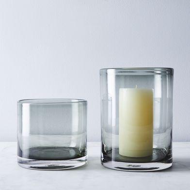 Smoke Glass Hurricane & Pillar Candle