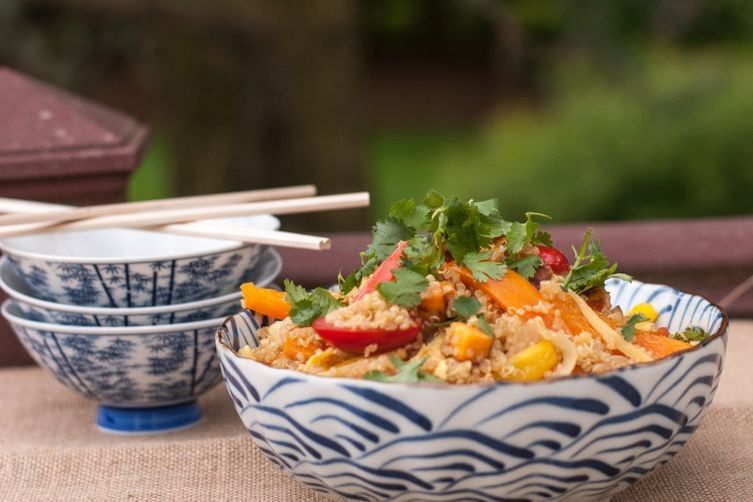 Stir-Fried Vegetable Quinoa with Ginger