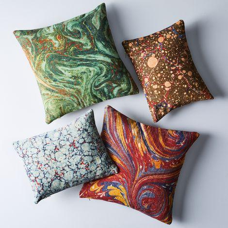 Ebru Print Throw Pillows