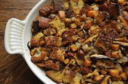 Ciabatta Stuffing with Chorizo, Sweet Potato, and Mushrooms
