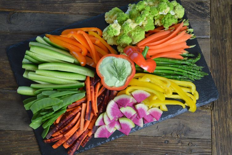 Modern Crudite with Green Goddess Dip