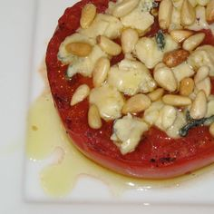 Grilled Tomatoes with Blue Cheese and Pine Nuts