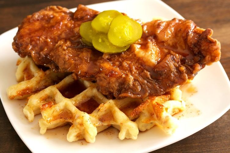 Hot Chicken & Jalapeño Bacon Cheddar Waffle