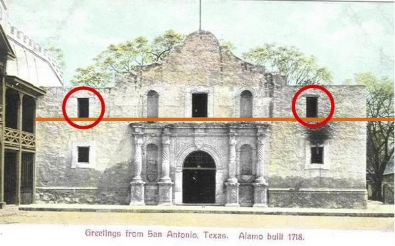 The original Alamo is shown below the orange line; windows and decorative pediment were later additions