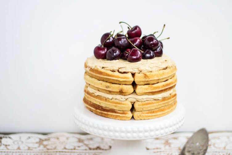 Brown Butter Waffle Cake + Sorghum Meringue Buttercream