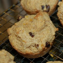 Orange coriander cherry muffins