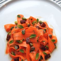 Shaved Carrot with Pistachios, Pancetta, Mint & Buttermilk