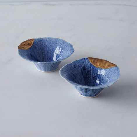 Gold-Dipped Blue Pinch Bowls (Set of 2)