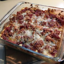 Cauliflower Bake with Cheese, Onion, Pepper, and Prosciutto