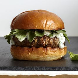 Karen Weinberg's Lamb Burgers with Tzatziki and Arugula