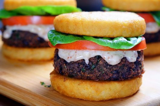 Smoky Black Bean Burgers on Potato Buns