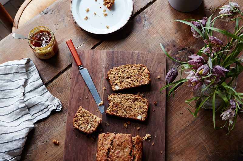 Healthy Breakfast Bread with Seeds, Almonds, and Figs