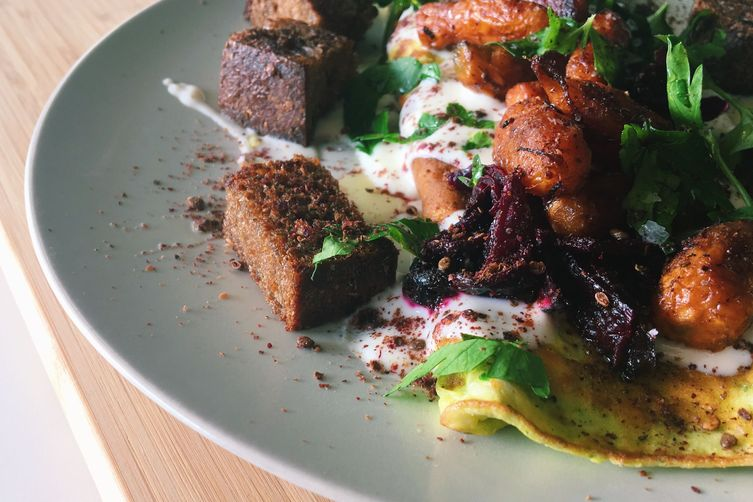 Herb Omelette with Yogurt Two Ways, Ginger Garlic Roasted Vegetables and Sumac