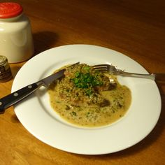 Herb-brined Pork Chops with Pickles and Mustard Cream