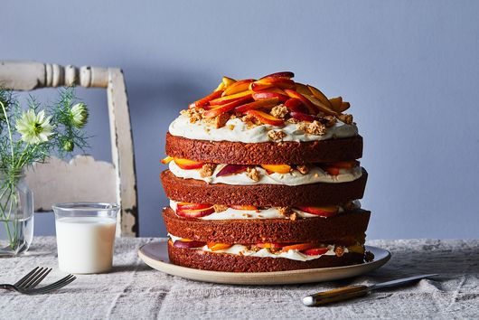 Cobbler Meets Cake in This Peachy, Mascarpone-y Beaut