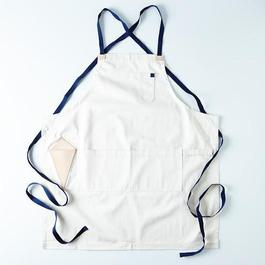 Cream Apron with Leather Tool Sheath