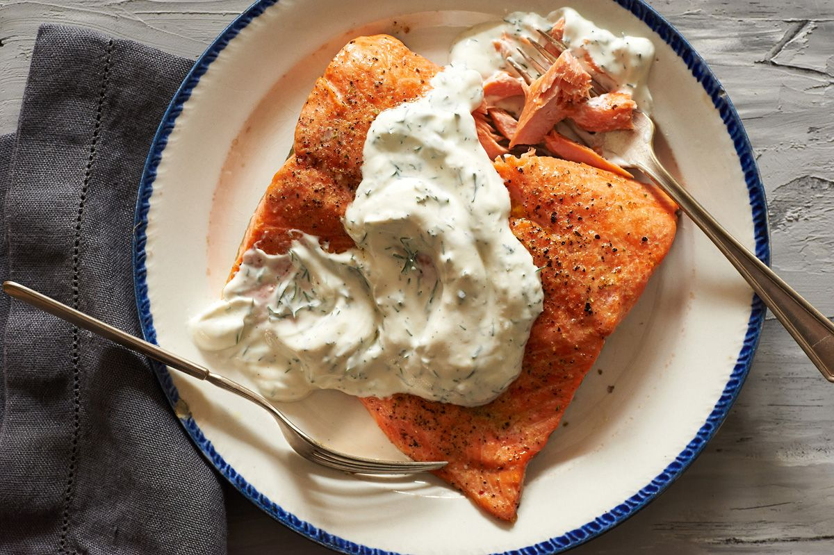Noni S Salmon With Sour Cream Dill Slather