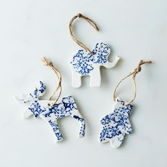 Large Ceramic Moose, Bear & Elephant Ornaments (Set of 3)