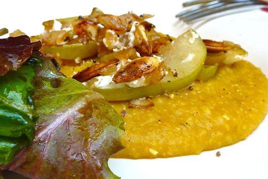 Creamy Pumpkin Polenta with Apple and Feta Crumble