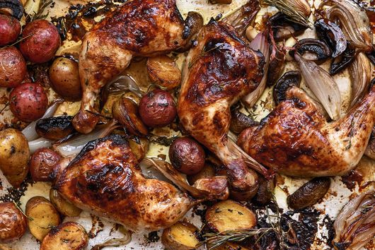 Sheet-Pan Supper: Balsamic Chicken with Baby Potatoes and Mushrooms