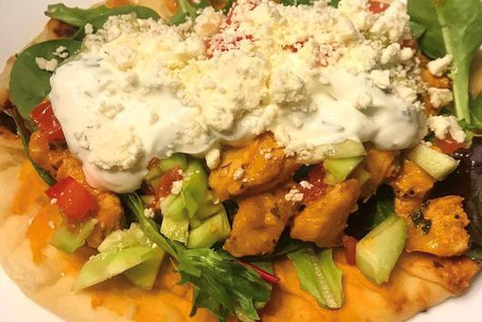 Mediterranean Chicken Flatbread with Sweet Tzatziki