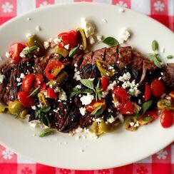 Grilled Skirt Steak with Greek Salsa