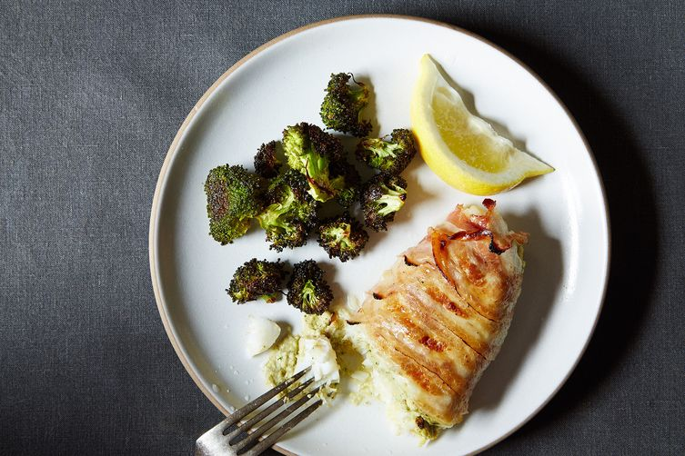 Pancetta-Wrapped Roasted Cod with Artichoke Pesto