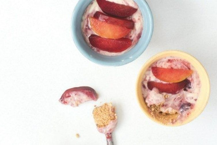 Individual Plum Cheesecakes