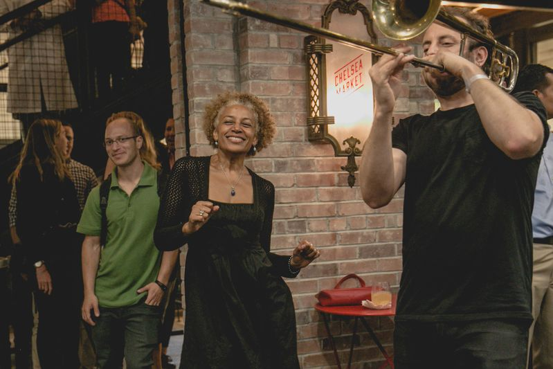 A fiery jazz band christened the space with music and dancing.