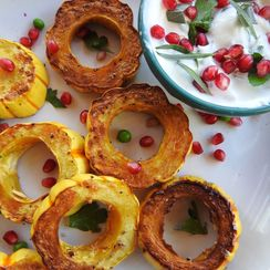 Roasted Delicata Squash Rings with Herbed Yogurt