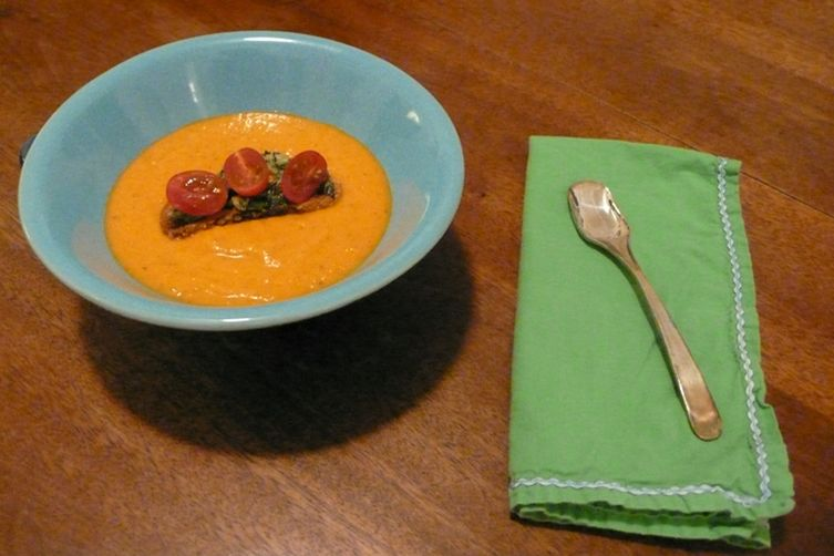 Cherry Tomato & Basil Croutons atop Creamy Heirloom Tomato Soup