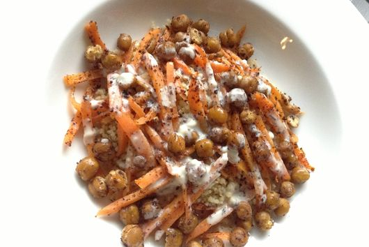 Couscous w/ Sumac Roasted Chickpeas&Carrots and Tangy Tahini Sauce