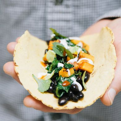Kale & Sweet Potato Tacos on Homemade Corn Tortillas
