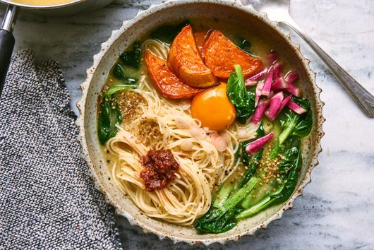 Rainbow Noodle Bowl With Garlicky-Gingery Broth