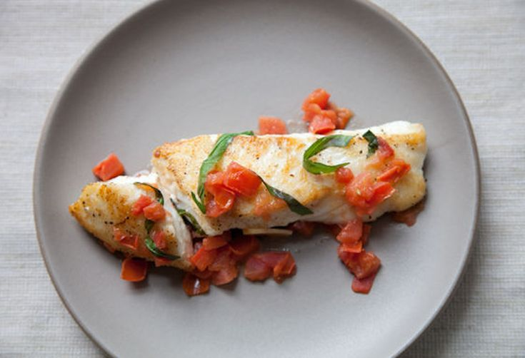 Halibut with Basil, Garlic and Tomatoes