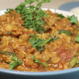 Red Lentil Curry with Spiced Rice