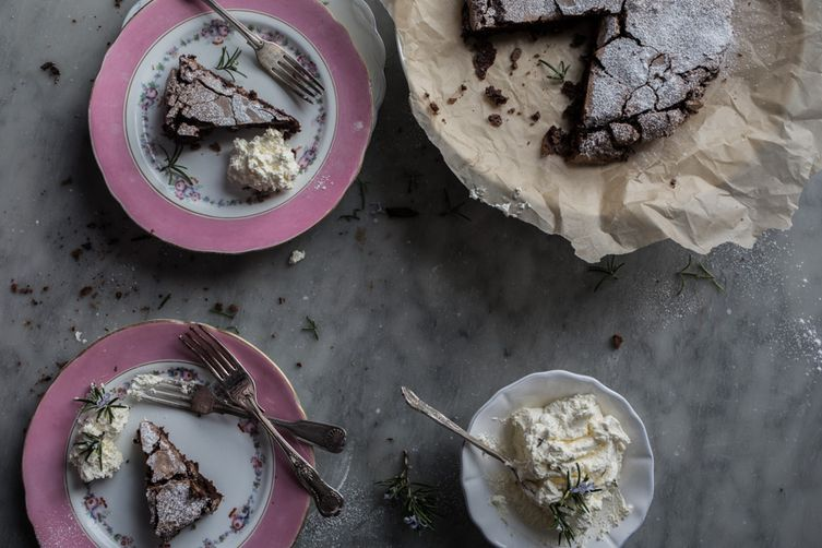 Flourless Chocolate Cake with Whipped Rosemary Cream