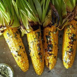 Grilled Corn with Basil Butter