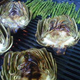 Grilled Artichokes & Asparagus with Walking Onion and Basil Aioli