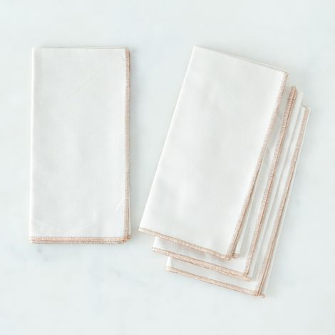 Copper-Trimmed Cream Linen Napkins (Set of 4)