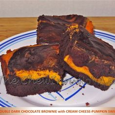 Double Dark Chocolate Brownie with Cream Cheese Pumpkin Swirl