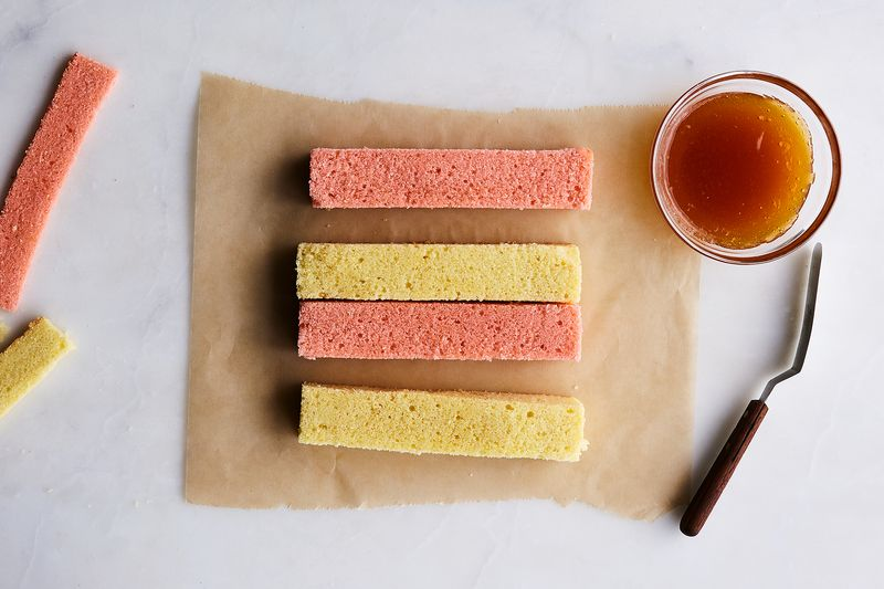 Once baked, you want to cut them into 4 rectangles like these.