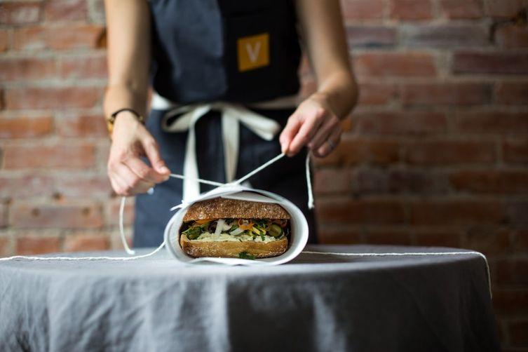 Crazy Feta and Roasted Veggie Slab Sandwich