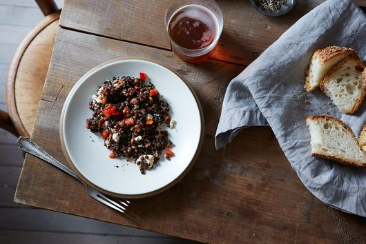Deborah Madison's Lentil Salad with Mint, Roasted Peppers & Feta Cheese